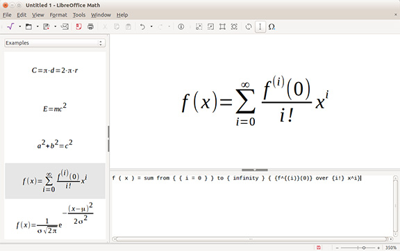 LibreOffice Math screenshot, mathematical equations software