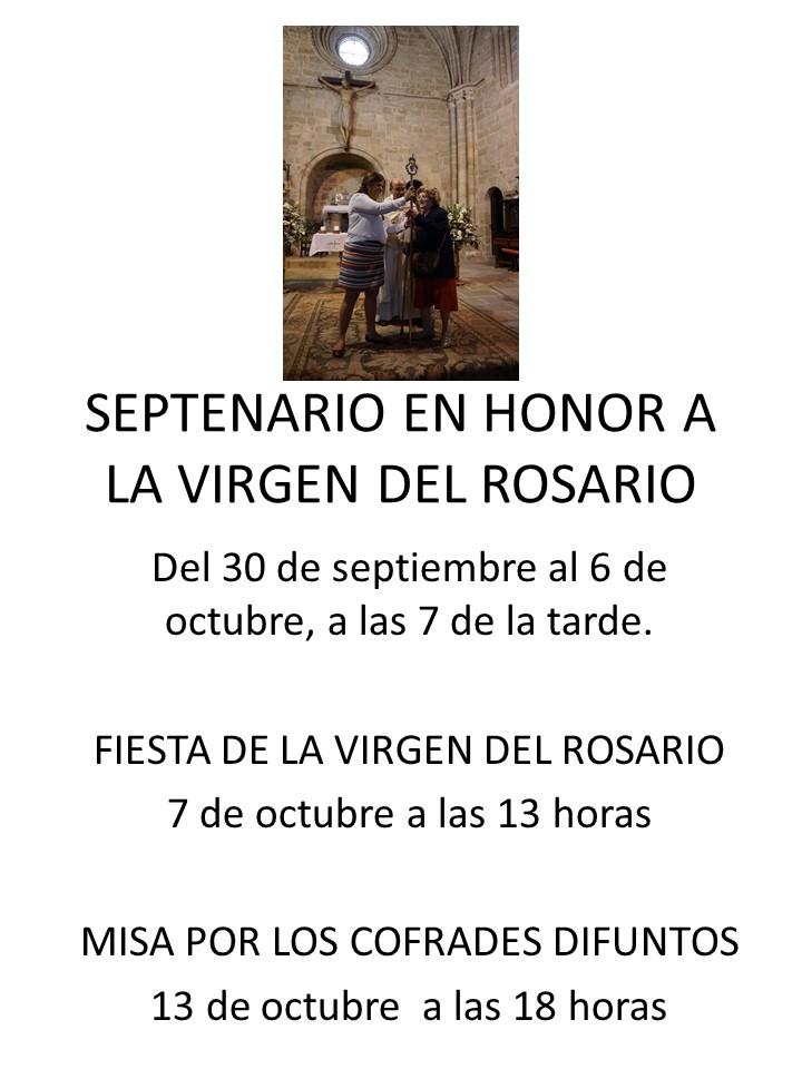 Cartel del septenario en honor a la Virgen del Rosario, a celebrar entre los días 30 de septiembre al 6 de octubre