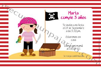Invitación de cumpleaños de la pirata