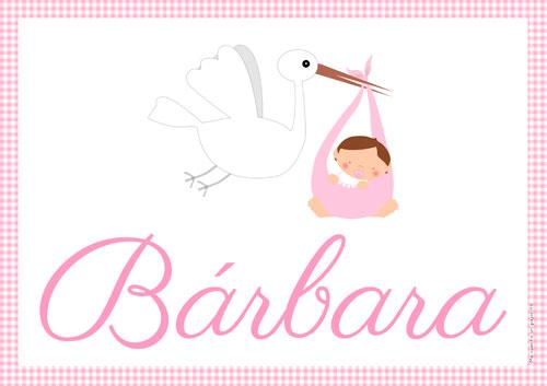 Lámina de la cigüeña y el bebe niña