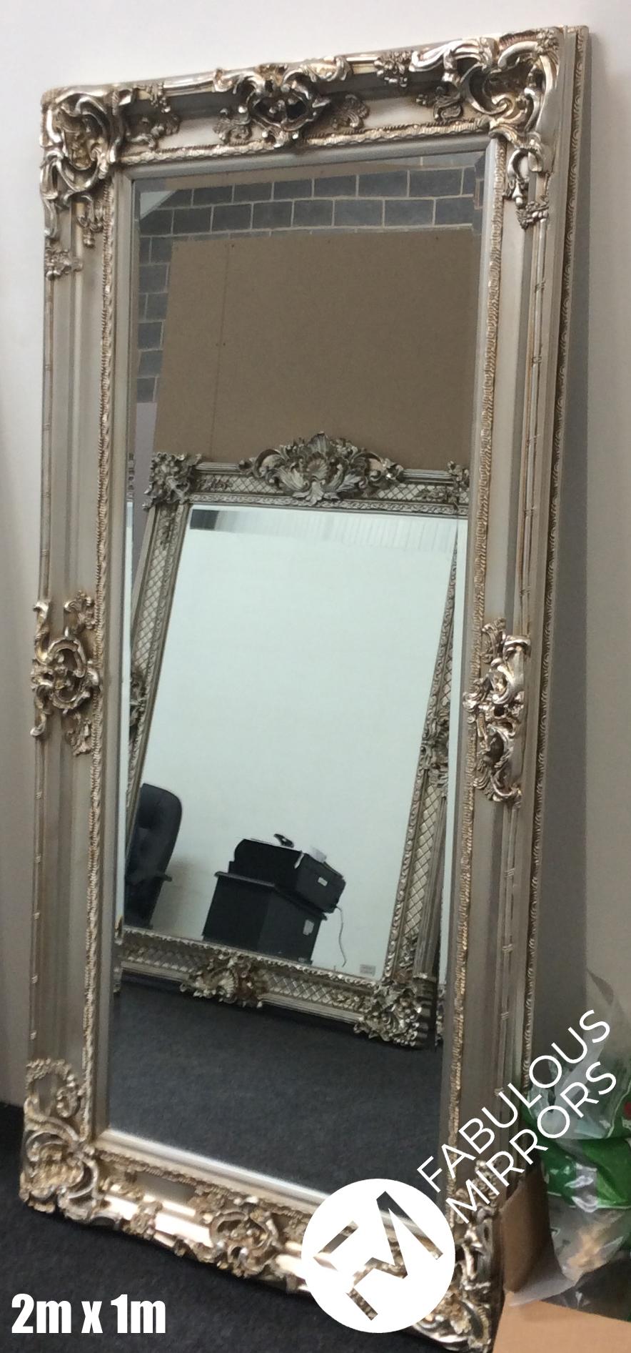 Large Stunning Antique Silver Decorative Ornate Beveled