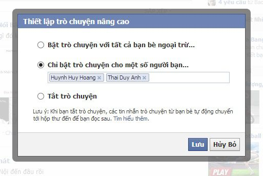 Chỉ bật tính năng Chat trên Facebook với một số người nhất định