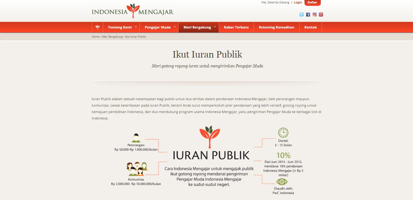 iuran publik indonesia mengajar
