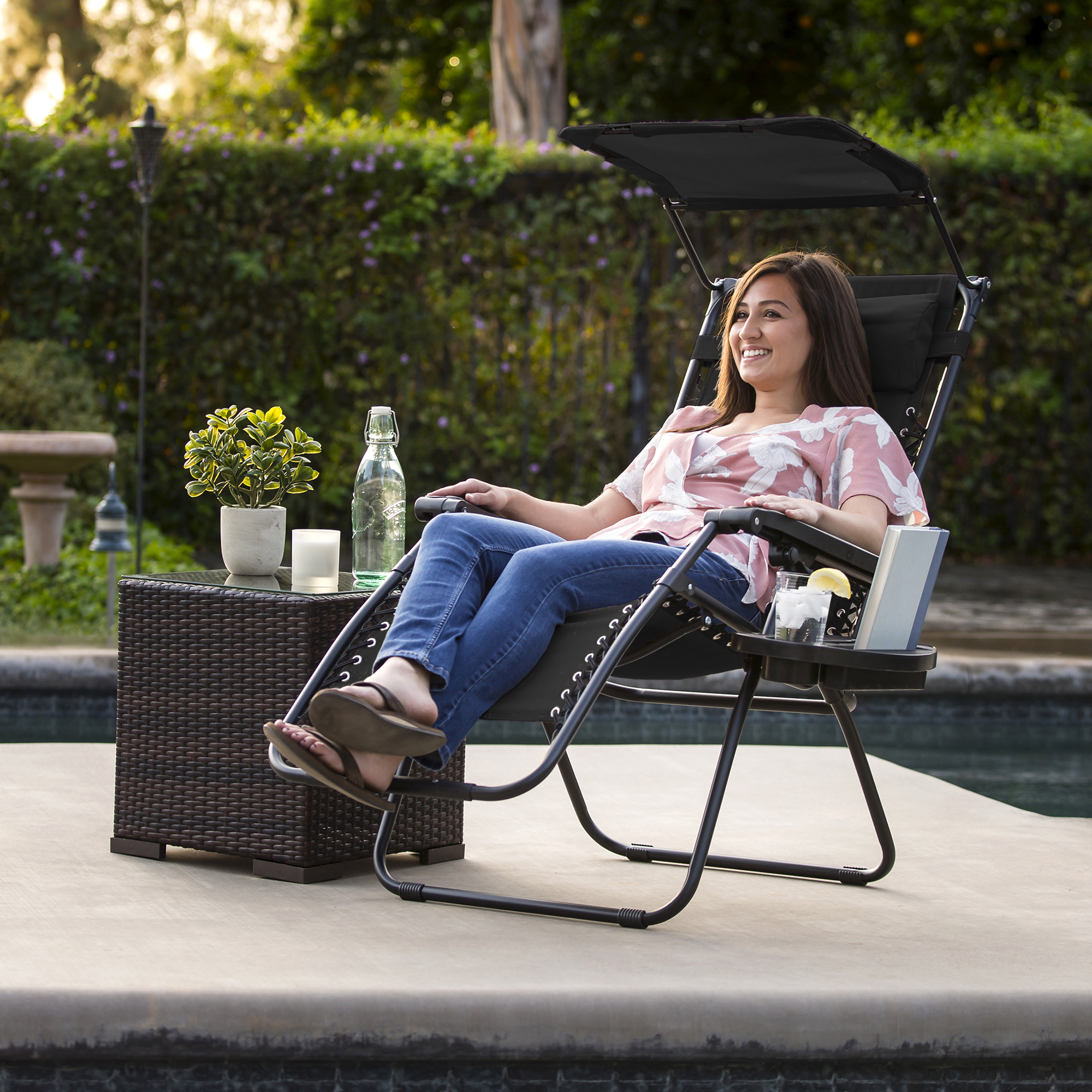 BCP-Folding-Zero-Gravity-Recliner-Lounge-Chair-w-Canopy-Cup-Holder thumbnail 16
