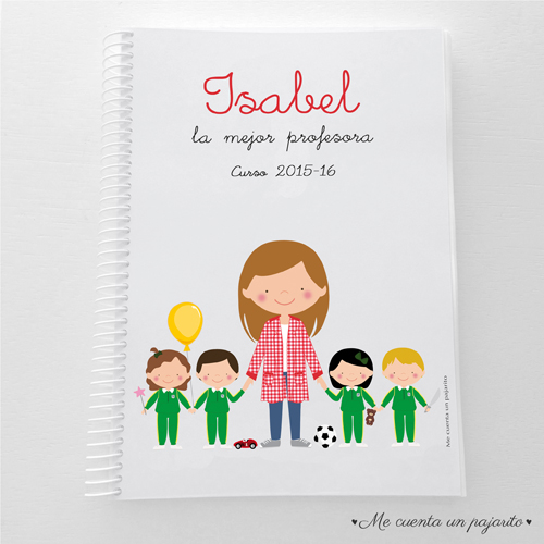 cuaderno personalizada regalo para profesora y profesor