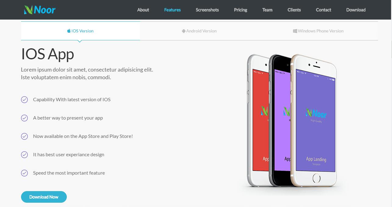 Noor – Free App Landing Page