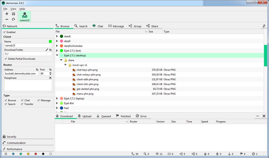 demonsaw - interfejs GUI aplikacji do anonimowego udostępniania plików i czatowania
