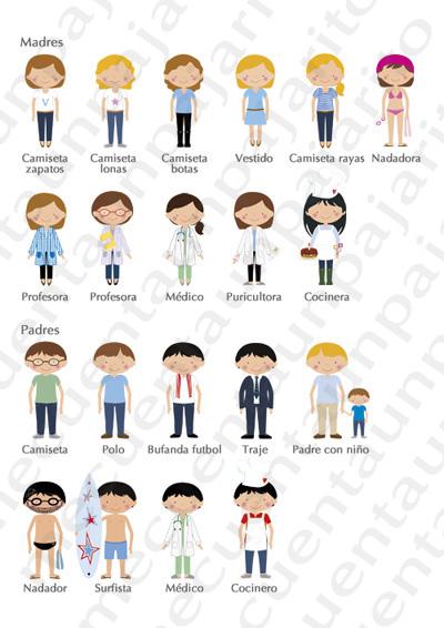 Cómo personalizar tu dibujo, ejemplo chicas, chicos, madres, padres