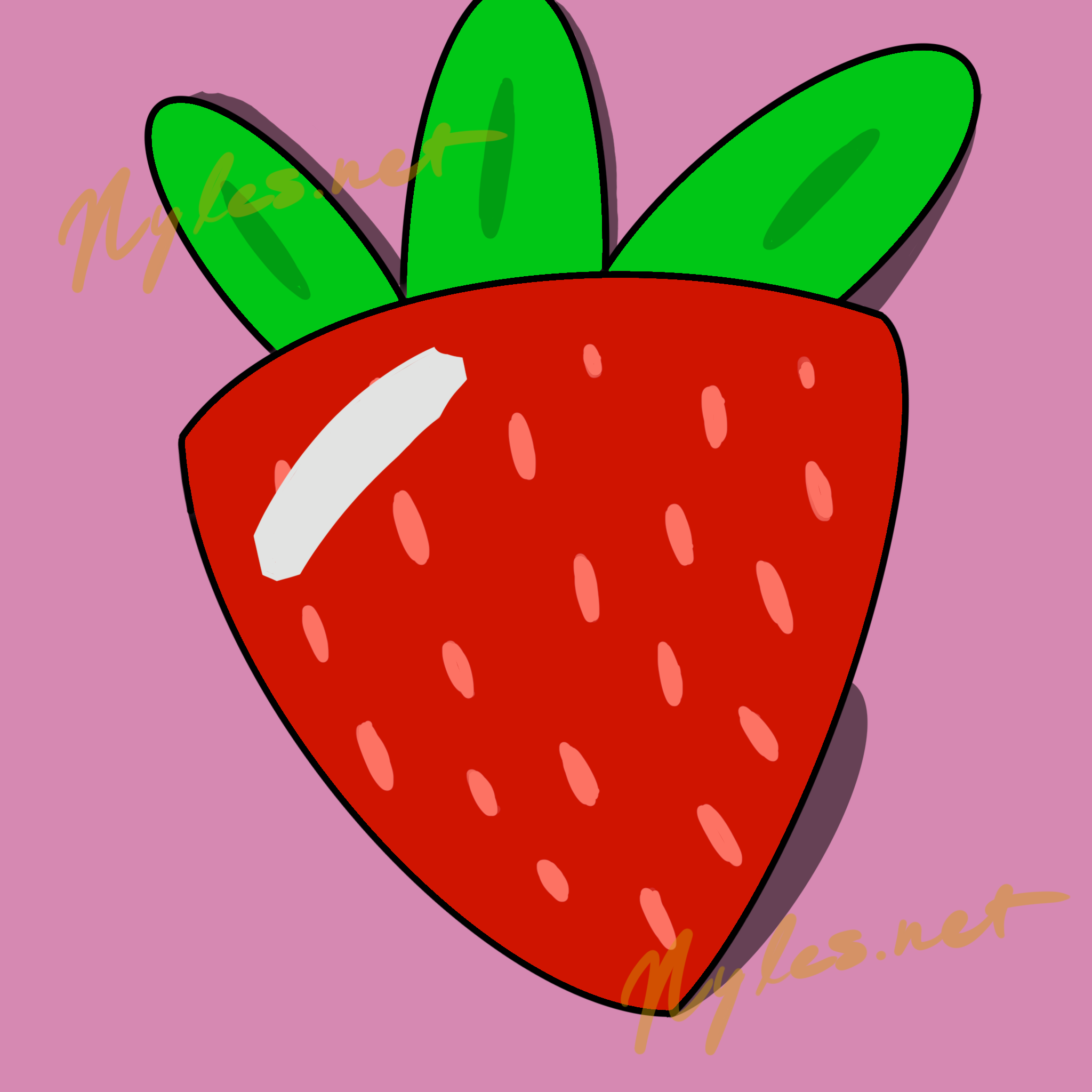 2D Digial Drawing of a cartoon strawberry that appears to be candied