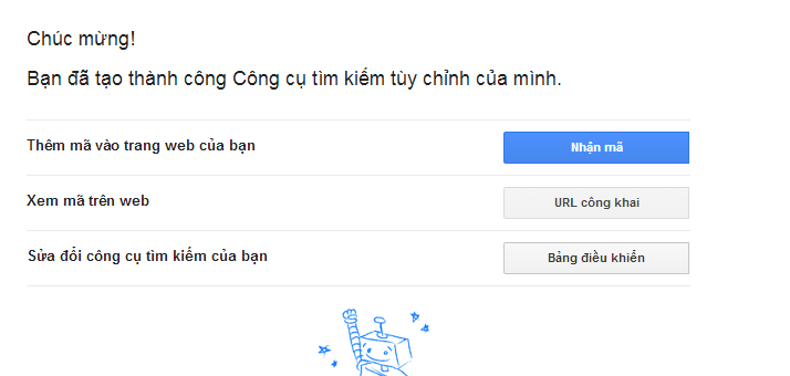 dang ky thanh cong Google Custom Search