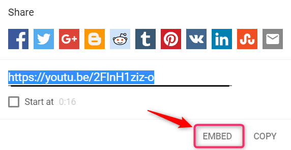 embed button in youtube