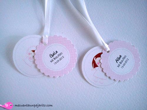 Etiquetas personalizadas de bautizo, niña y bebe