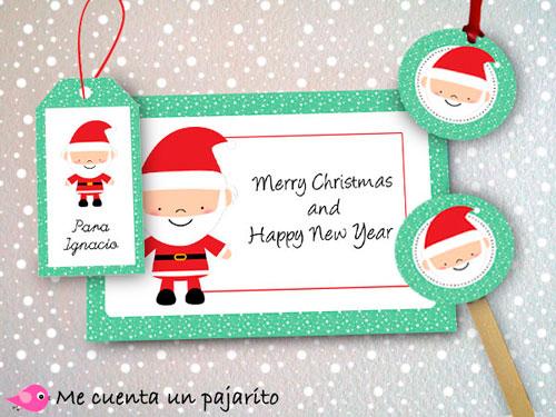 Felicitación perosnalizada Navidad, etiquetas, toppers personalizados Papá Noel