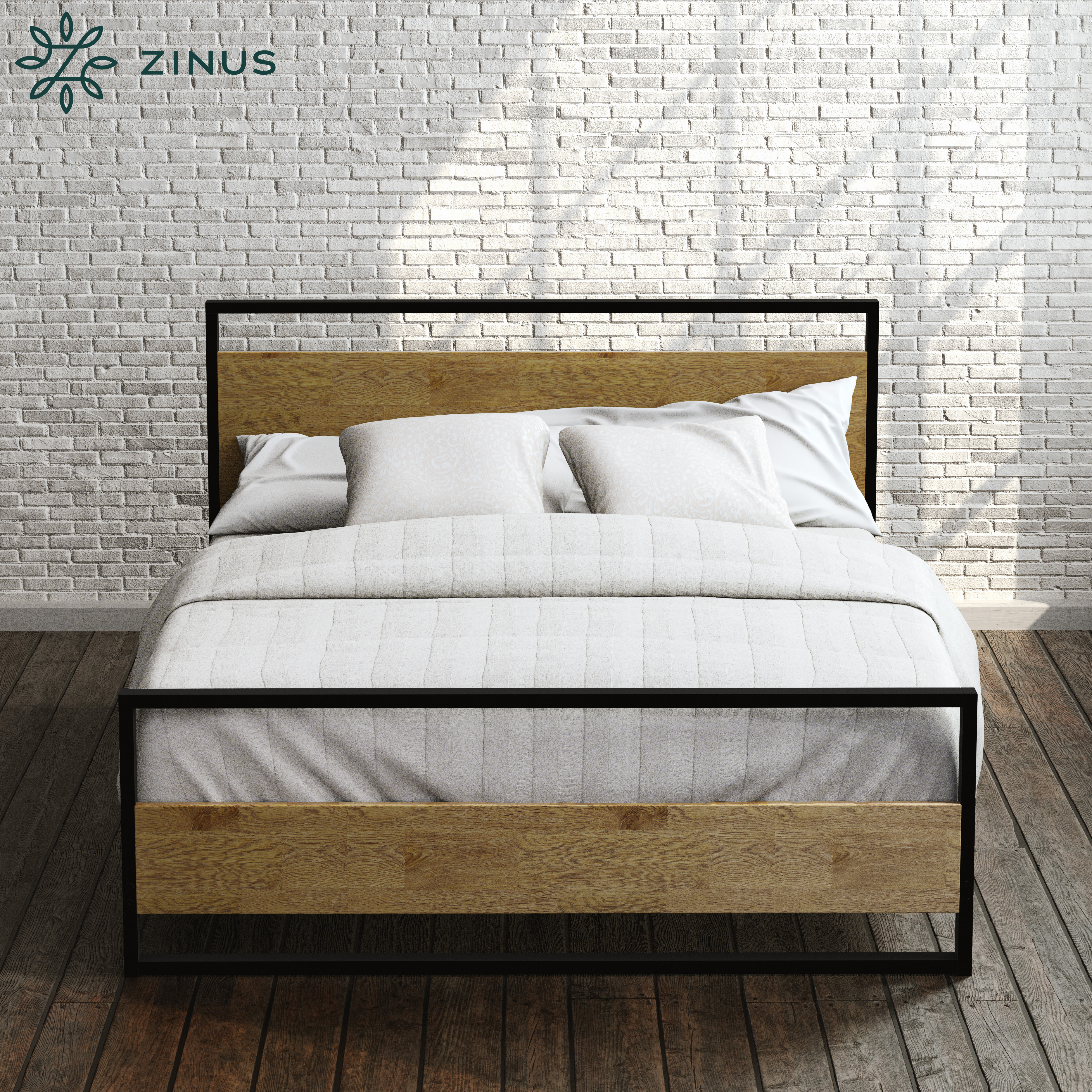 Zinus-Ironline-Metal-Wood-Bed-Frame-Queen-Single-Double-King-Base-Mattress-Pine thumbnail 2
