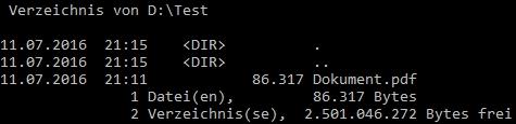 Beispiel für die Anzeige einer Datei zu DOS-Zeiten