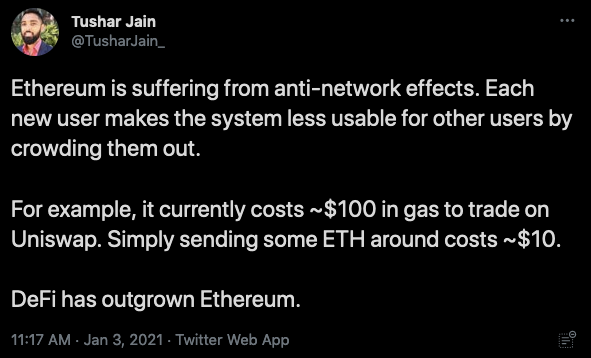 """""""Ethereum is suffering from anti-network effects. Each new user makes the system less usable for other users by crowding them out. For example, it currently costs $100 in gas to trade on Uniswap. Simply sending some ETH costs around $10. DeFi has outgrown Ethereum."""""""