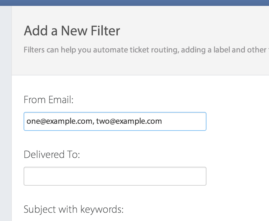 Screenshot of filters with multiple email addresses