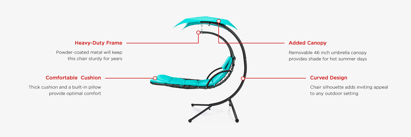 Hanging Curved Chaise Lounge Chair W Built In Pillow