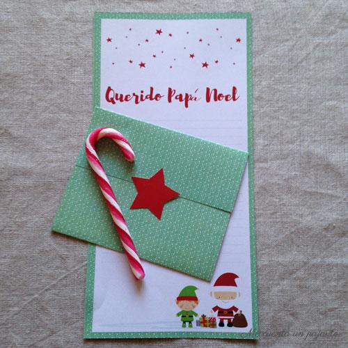 Carta para Papá Noel con sobre,  imprimible gratis, descargable
