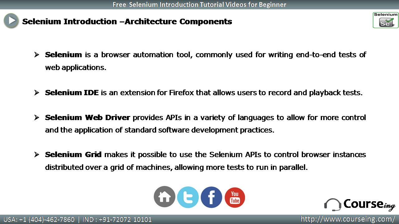 Free Selenium Introduction Architecture Components