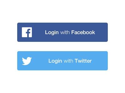 PSD - Social Login Buttons