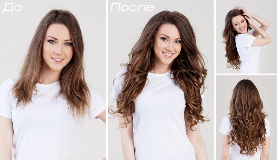 До и после капсульного наращивания волос