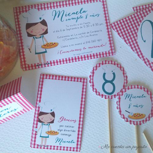 Papelería personalizada del cumpleaños chef, cocinera, invitación, etiquetas, toppers