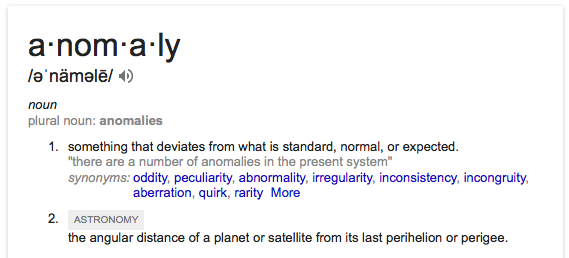 anomaly defined by Google