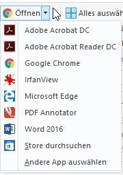 Dateien können häufig mit mehreren Programmen auf dem Rechner geöffnet werden