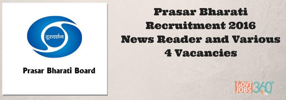 Prasar Bharati Recruitment 2016 News Reader and Various 4 Posts Application Form