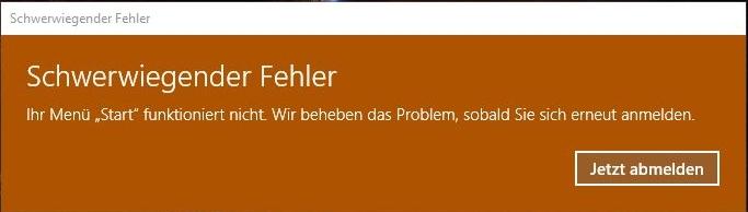 """Anzeige """"Schwerwiegender Fehler"""" unter Windows 10"""