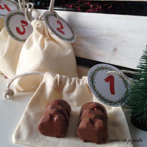 Calendario de Adviento, 1 de diciembre, etiquetas, bolsas, chocolatinas