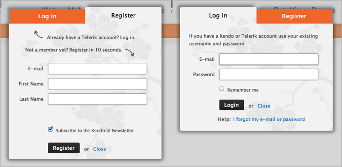 Registration/Login Dialog
