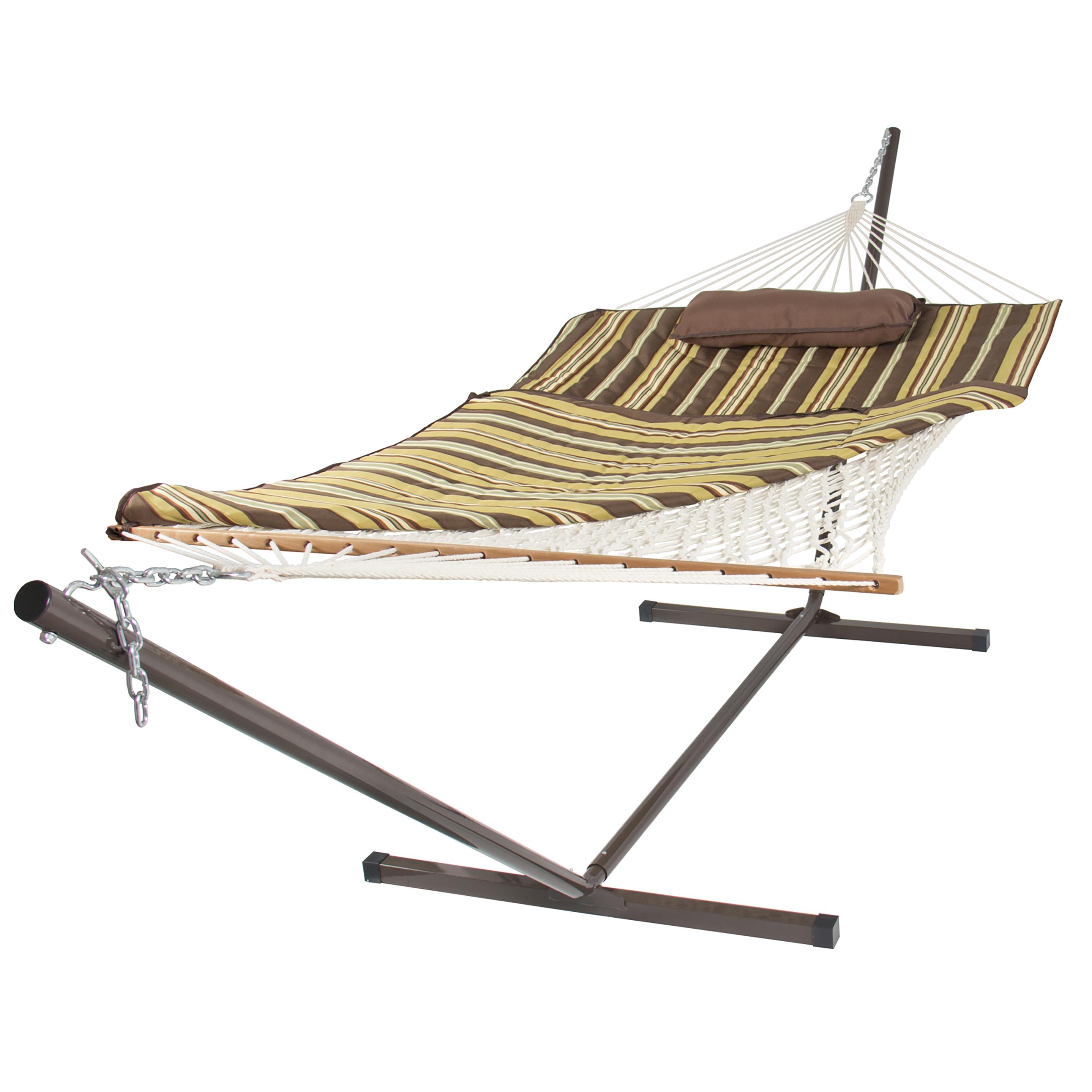 Cotton rope hammock 12 feet steel stand combo w stripe for Rope hammock plans