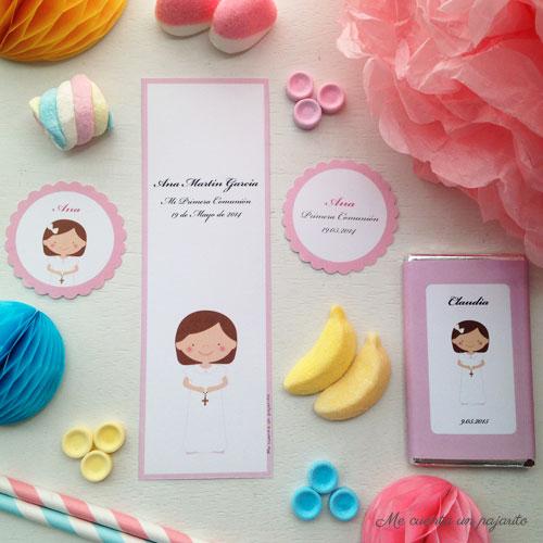 recordatorios, etiquetas, pegatinas primera comunión niña borde marco rosa