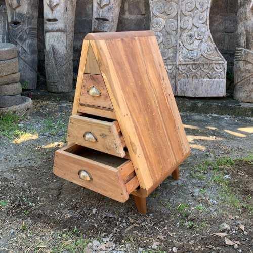 triangle storage - 3 draws - recycled wood