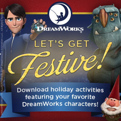 New DreamWorks Holiday Printables for the Family
