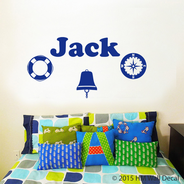 Customise name & Nautical theme Kids / Nursery removable Wall Sticker Decal