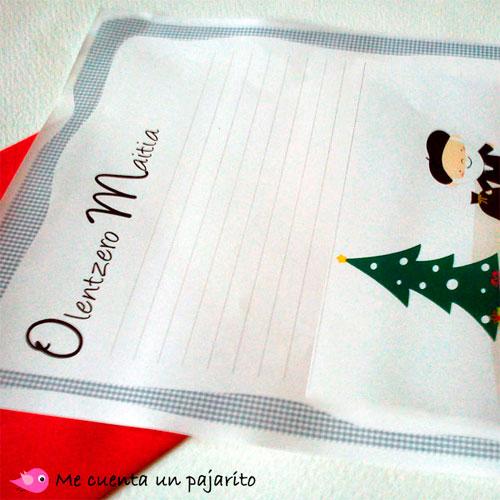 Carta para escribir los regalos al Olentzero