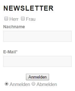 Anmelde-Formular für einen Newsletter