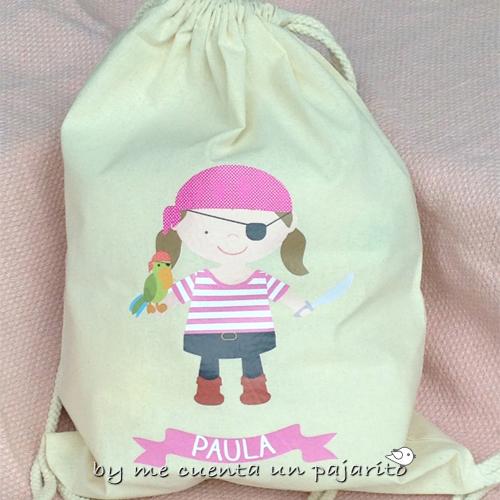 Mochila personalizada de algodón pirata niña