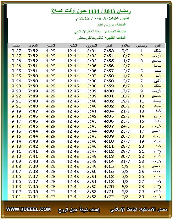 امساكية رمضان 2013 – 1434 | لبنان بيروت - امساكية شهر رمضان لبنان مدينة بيروت 2013 - امساكية رمضان جميع الدول العربية 2013
