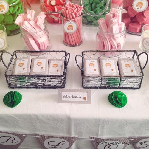 mesa dulce primera comunión chocolatinas personalizadas