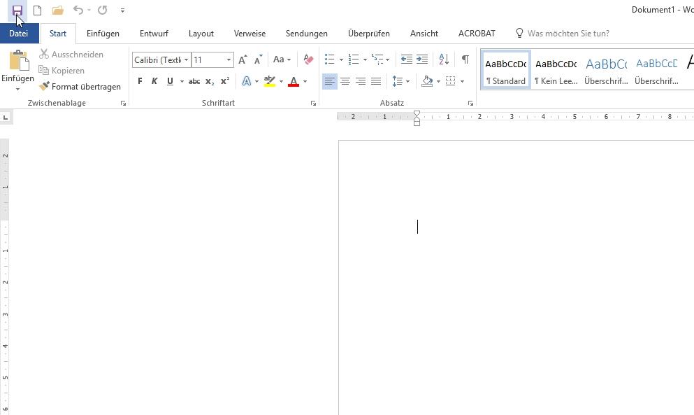 Vor der Arbeit am Dokument wird die Word-Datei sofort gespeichert, z. B. über das Symbol rechts oben.