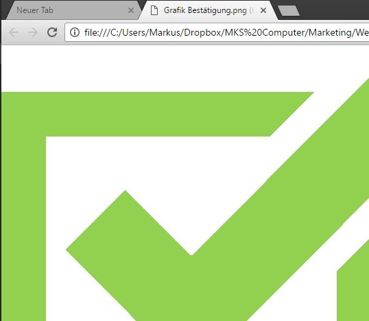 Nach Auswahl im Kontextmenü wird die Datei direkt im gewählten Programm, z. B. im Google Chrome, geöffnet.