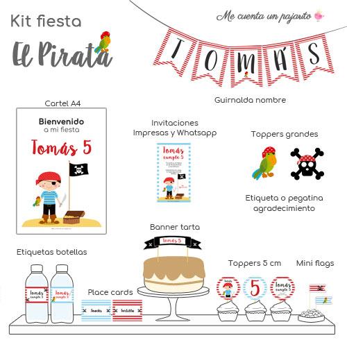 kit de cumpleaños personalizado el pirata y su loro, invitaciones, cartel bienvenida, toppers, etiquetas, pegatinas, guirnalda