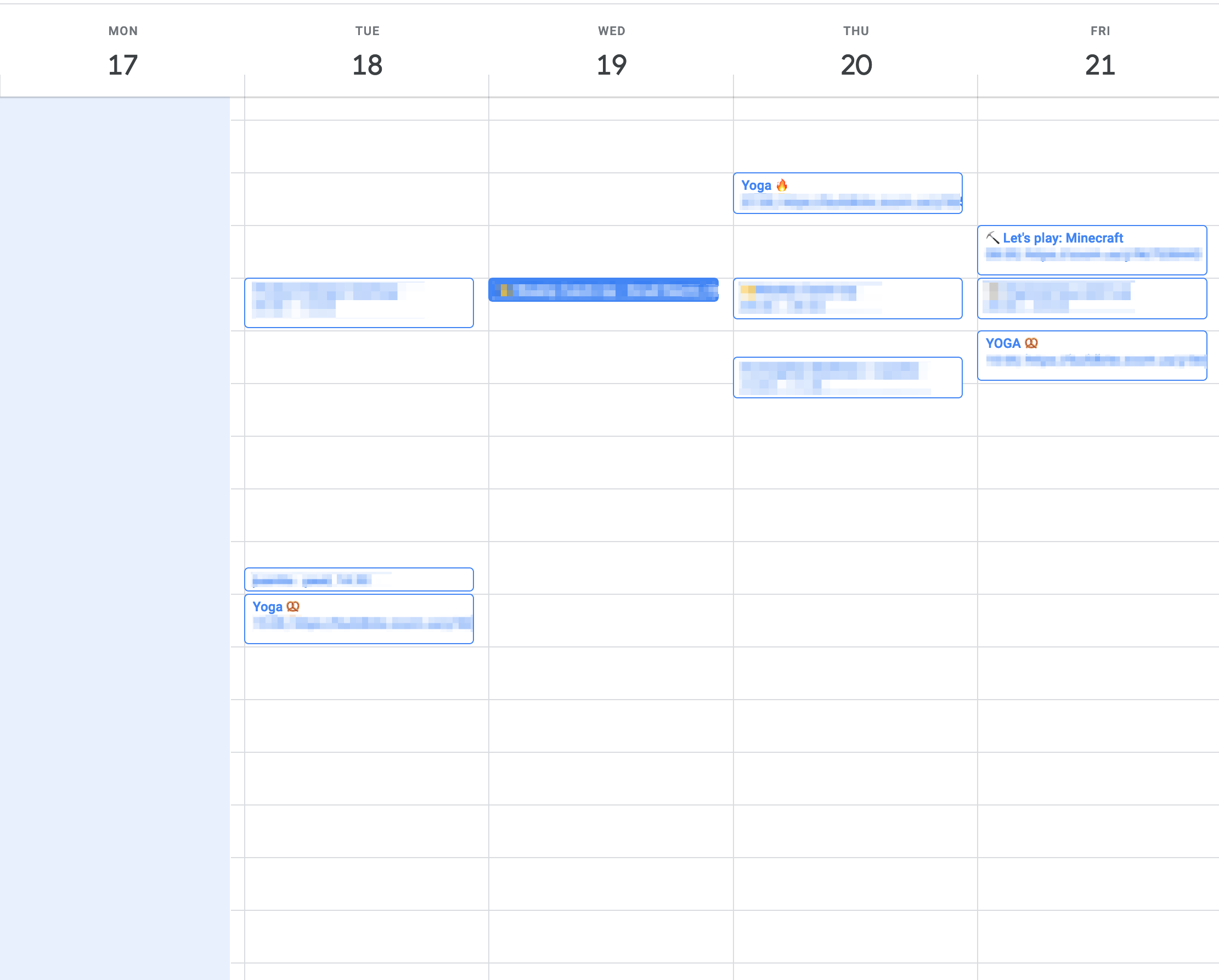 What my calendar looks like in a week. Note I am not an management role.