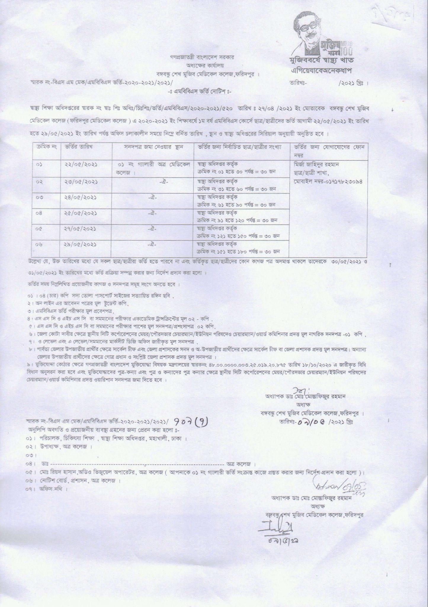 Admission notice 2020-2021