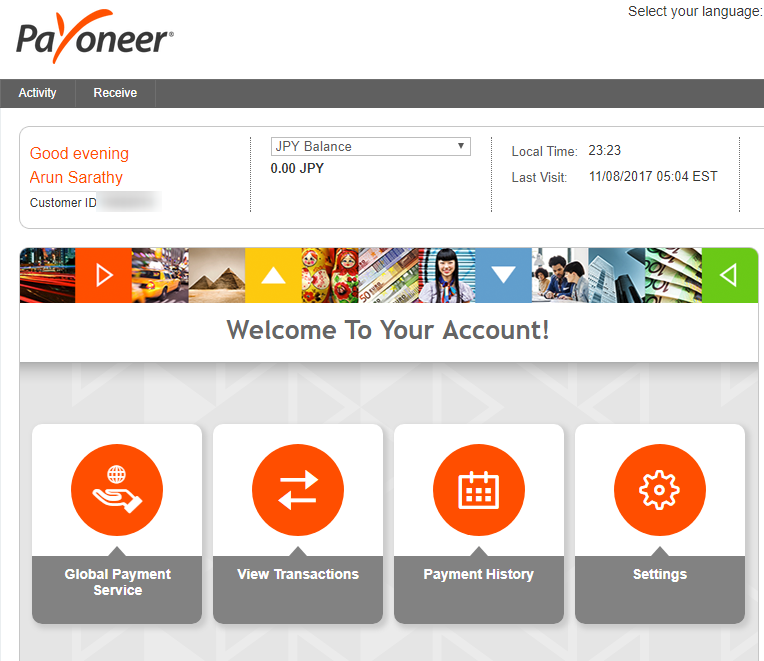 Payoneer welcome page screenshot