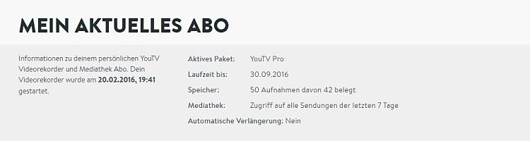 Beispiel eines YouTV Abo: Pro-Variante mit Platz für 50 Archiv-Aufnahmen bei halbjährlicher Zahlweise - zum Preis von 8,99 € / Monat